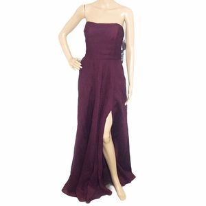 WHITE by Vera Wang Strapless Wine Crepe Gown